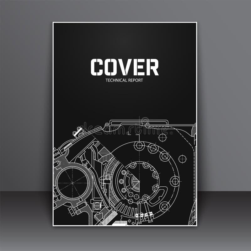 Conception de la couverture A4 Insecte de calibre avec le dessin technique illustration stock