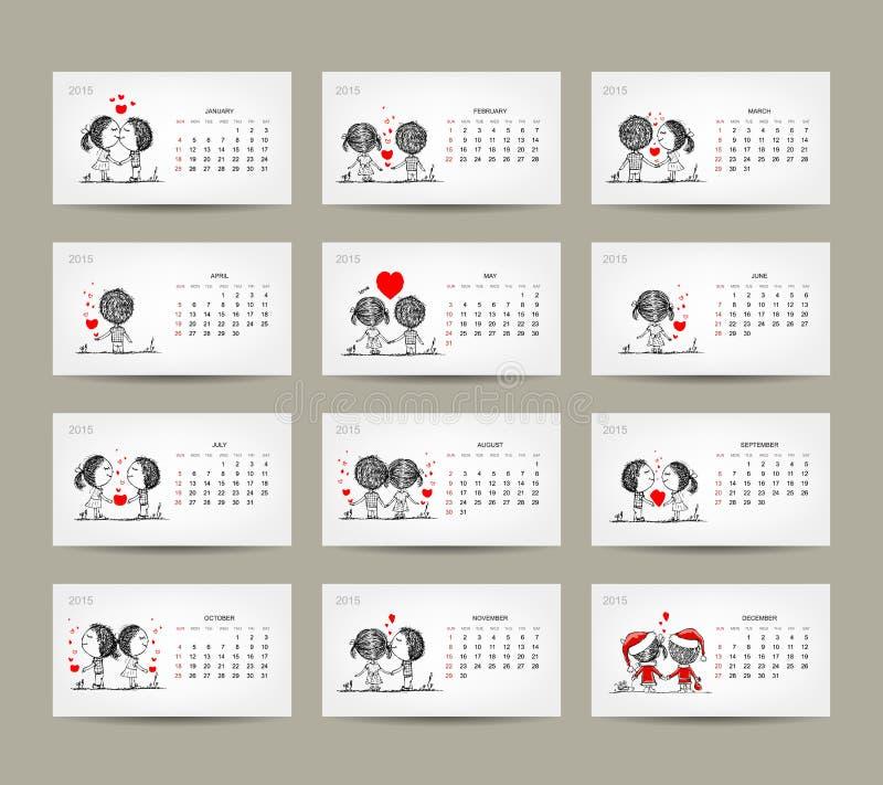 Conception de la grille 2015 de calendrier Couples dans l'amour ensemble illustration libre de droits