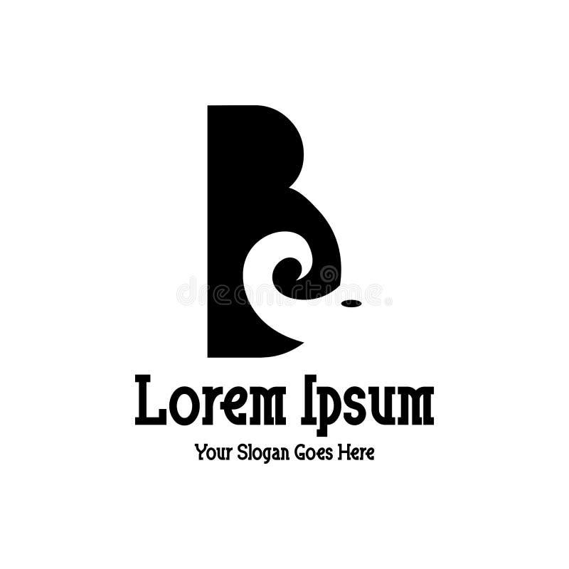 Conception de la lettre B d'alphabet avec le logo d'éléphant pour une société ou des affaires illustration stock
