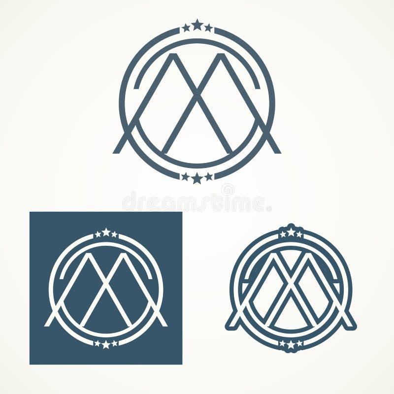 Conception de la lettre M Logo With Retro photo libre de droits