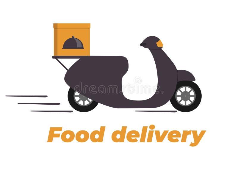 Conception de la livraison de nourriture Motocyclette avec la boîte sur le tronc Logo de service de distribution de nourriture La illustration de vecteur
