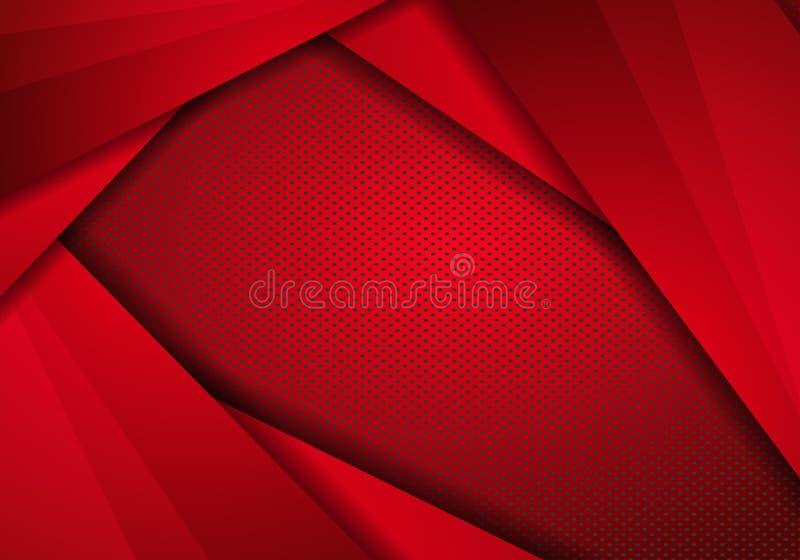 Conception de la technologie moderne rouge Contexte avec points Texture. panneau en acier inoxydable abstrait à texture métalliq illustration de vecteur