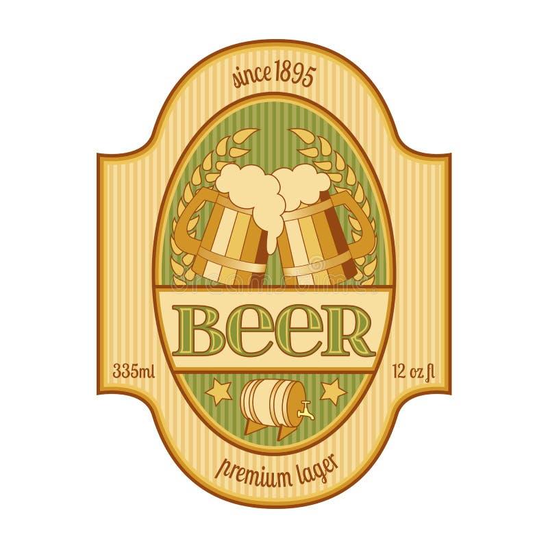 Conception de label de bière dans d'or et vert illustration stock