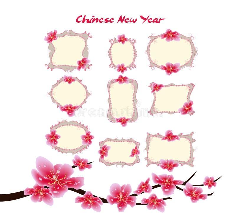 Conception de label de vente de ressort avec des fleurs de Sakura Fleurs de cerisier et lanterne, nouvelle année chinoise illustration libre de droits