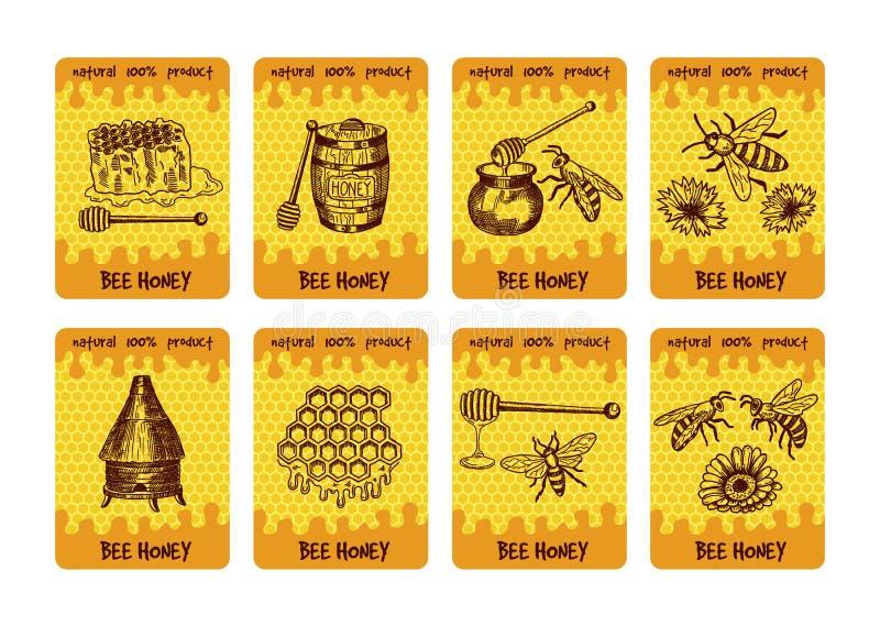 Conception de labels pour l'empaquetage des produits de miel Illustrations de miel et de nid d'abeilles illustration stock
