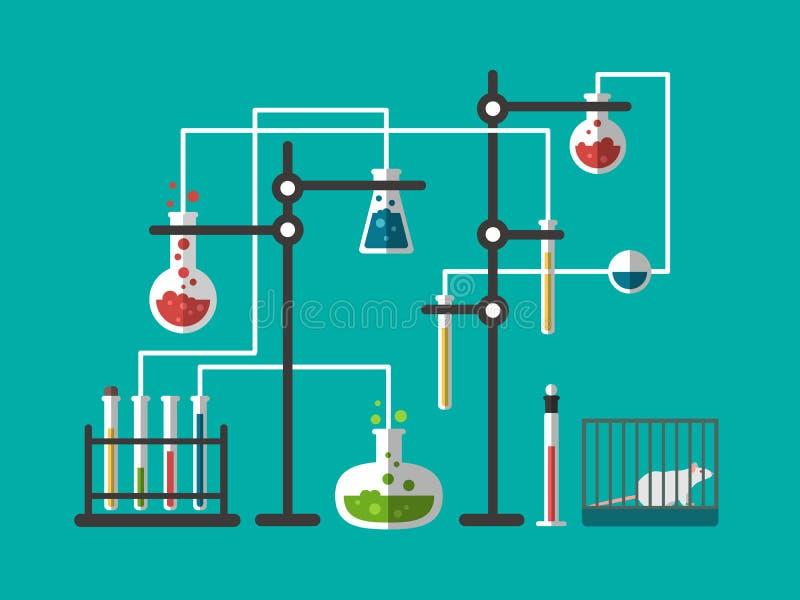 Conception de laboratoire plate illustration libre de droits
