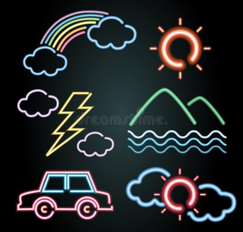 Conception de lampe au néon pour des éléments de voiture et de nature illustration stock