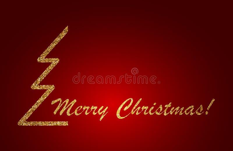 Conception de lettrage de Joyeux Noël sur le fond rouge Illustration de vecteur illustration stock