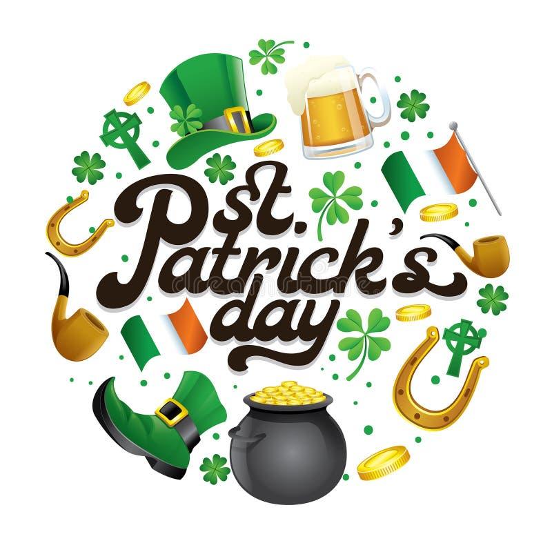Conception de lettrage du jour de St Patrick avec quelques objets entourés illustration stock