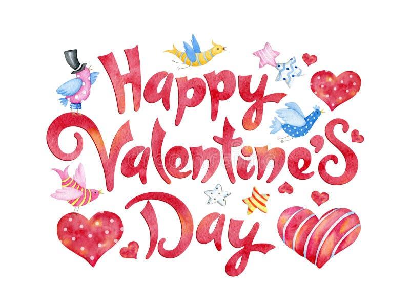 Conception de lettrage heureuse de dessin de main d'aquarelle de jour de valentines illustration libre de droits
