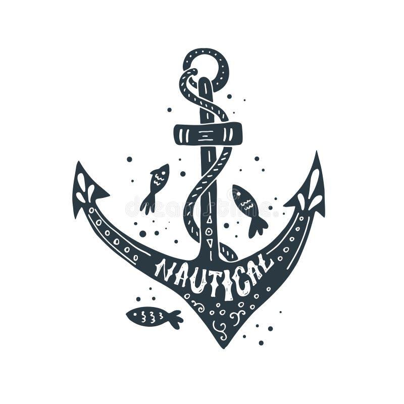 Conception de lettrage nautique illustration de vecteur
