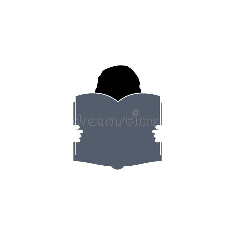 Conception de livre de lecture de garçon, icône d'éditeur et de publication illustration de vecteur