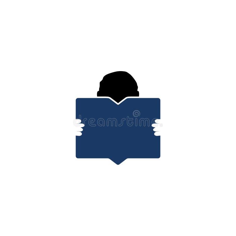 Conception de livre de lecture de garçon, icône d'éditeur et de publication illustration stock