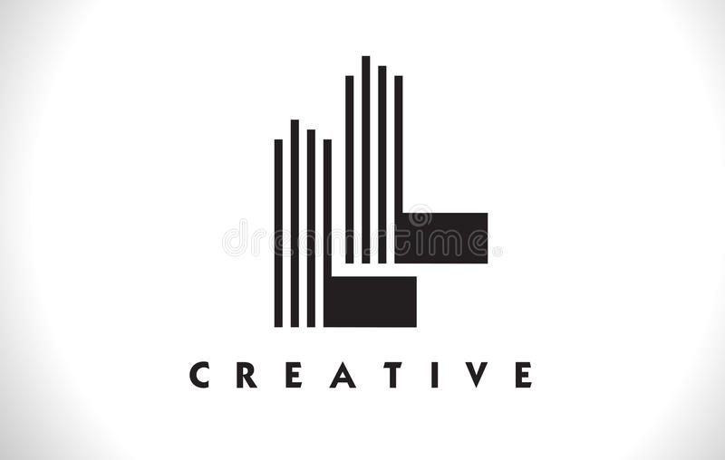Conception de LL Logo Letter With Black Lines Ligne vecteur Illus de lettre illustration stock