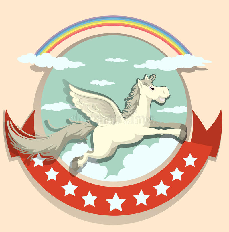 Conception de logo avec le vol de Pegasus illustration stock