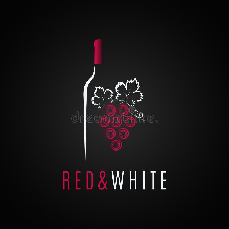 Conception de logo de bouteille de vin Fond de raisin de cuve rouge et blanc illustration stock