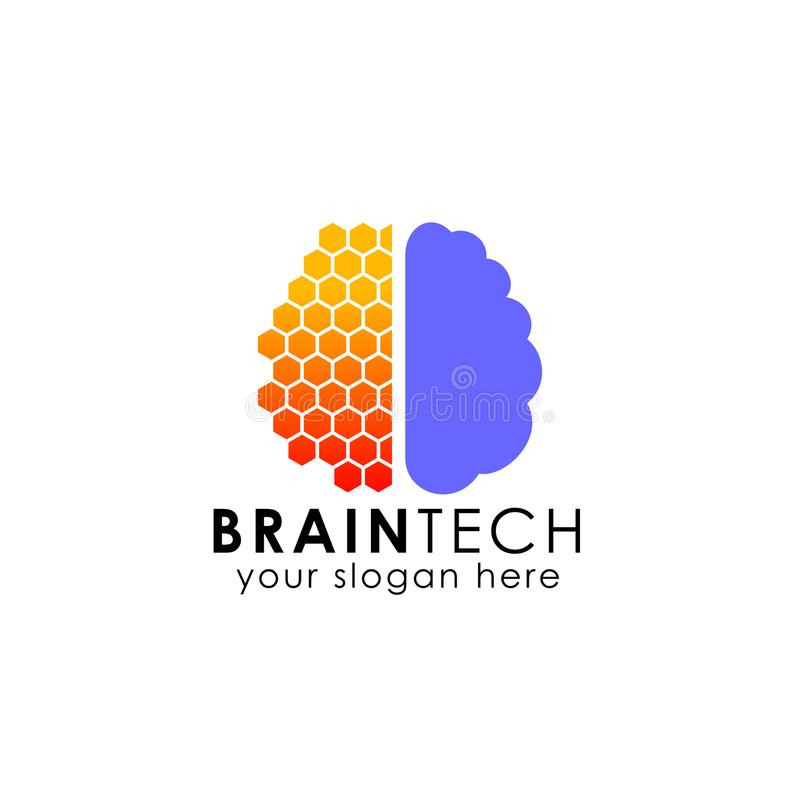 Conception de logo de cerveau de Digital calibre d'actions de logo de cerveau de technologie illustration stock