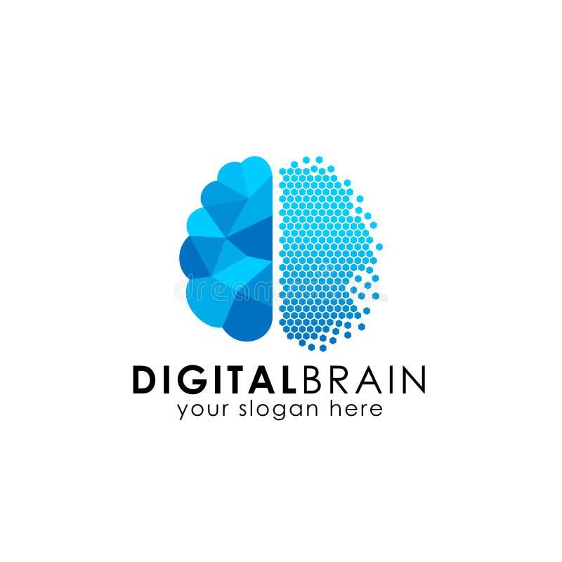 Conception de logo de cerveau de pixel conception numérique de logo de cerveau dans l'art de pixel illustration de vecteur