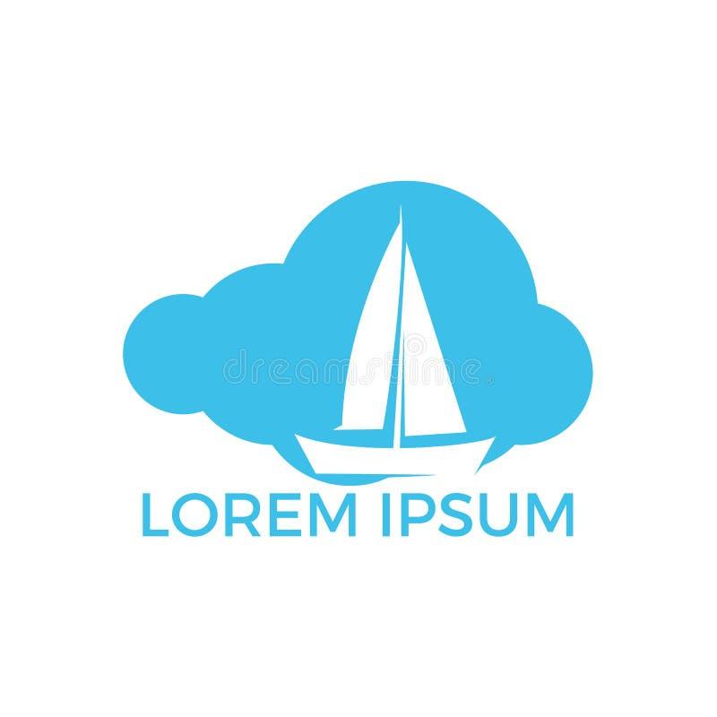 Conception de logo de cloudshape de yacht Conception de logo de vecteur d'?quipe de sport de club ou de yacht de plaisance illustration de vecteur