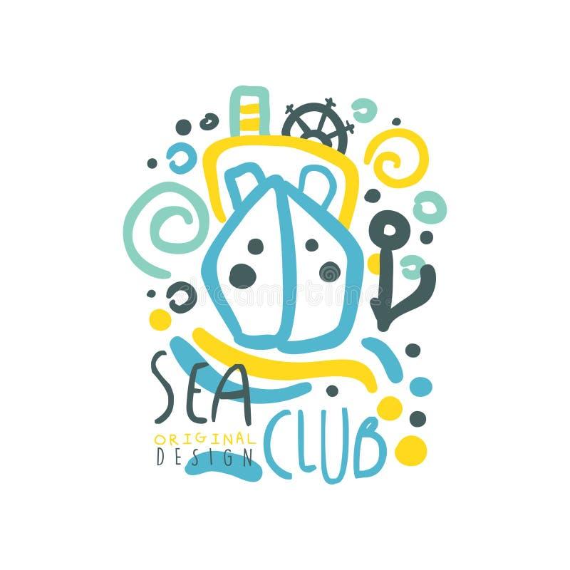 Conception de logo de club de mer avec le bateau ou le yacht flottant sur les vagues abstraites Illustration colorée tirée par la illustration libre de droits