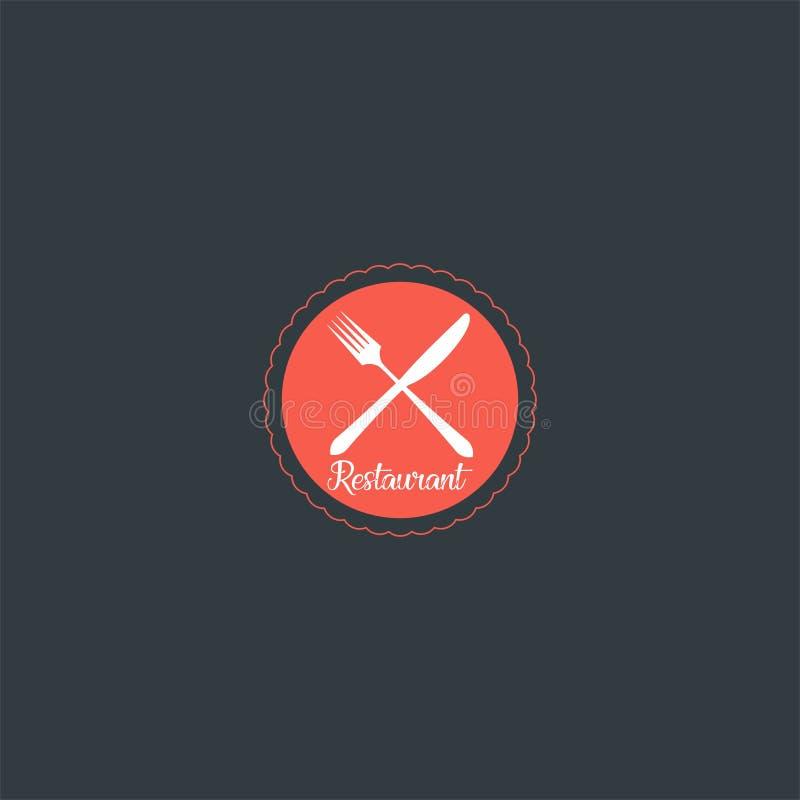 Conception de logo de couteau, de fourchette et de plat pour le restaurant calibre de vecteur d'icône de Dan de symbole illustration libre de droits