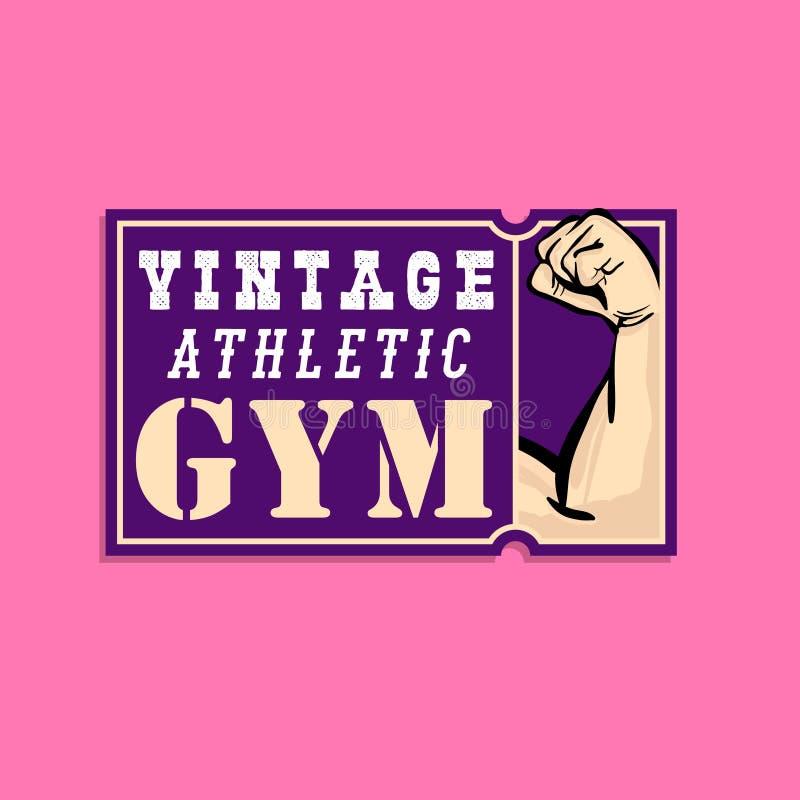 Conception de logo de cru de vieille école avec le bras sain dénommé comique de muscle tiré de bruit-art illustration de vecteur