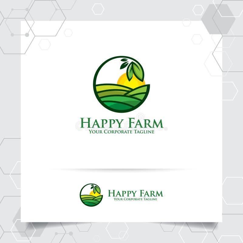 Conception de logo d'agriculture avec le concept de l'icône de feuilles et du vecteur de terre de plantation Logo vert de nature  illustration stock