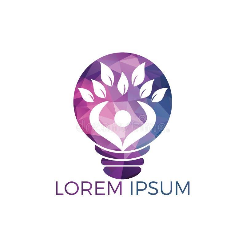Conception de logo d'arbre humain et d'ampoule Conception saine de logo de personnes illustration libre de droits
