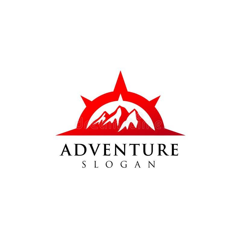 conception de logo d'aventure de montagne Symbole d'icône de boussole illustration libre de droits