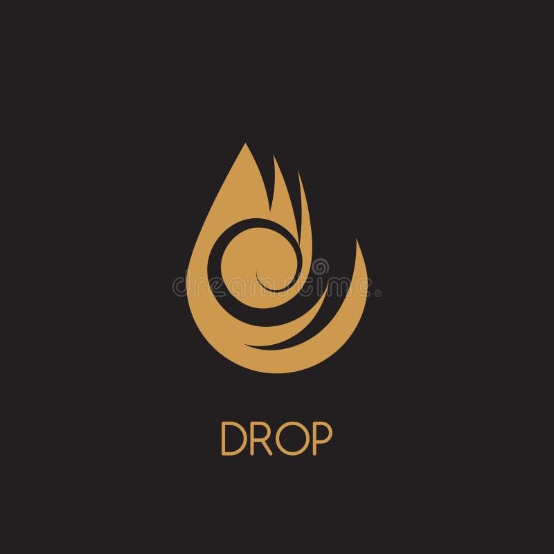 Conception de logo d'or de baisse de l'eau Vecteur d'icône de logotype de gouttelette illustration libre de droits