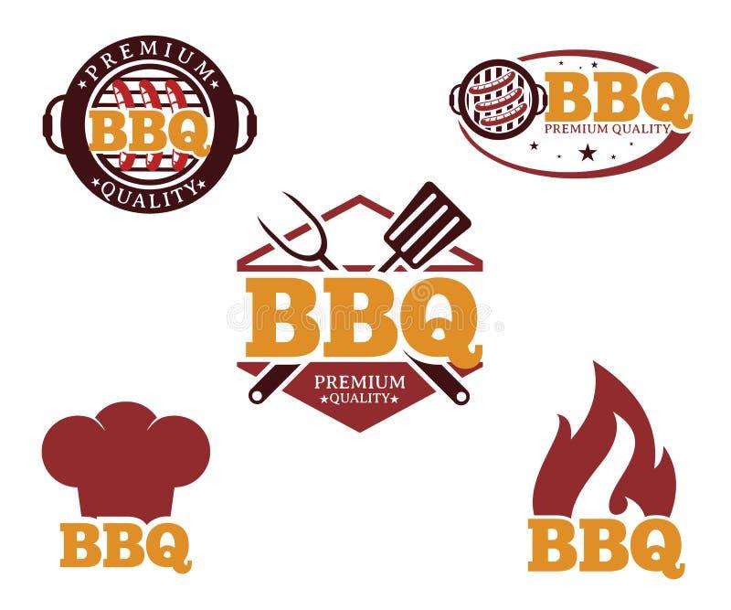 Conception de logo d'emblème d'icône de vecteur de barbecue de BBQ illustration libre de droits