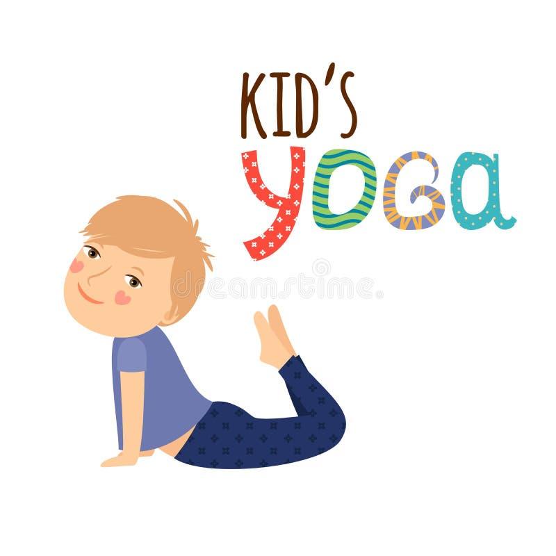 Conception de logo d'enfants de yoga avec le garçon illustration de vecteur