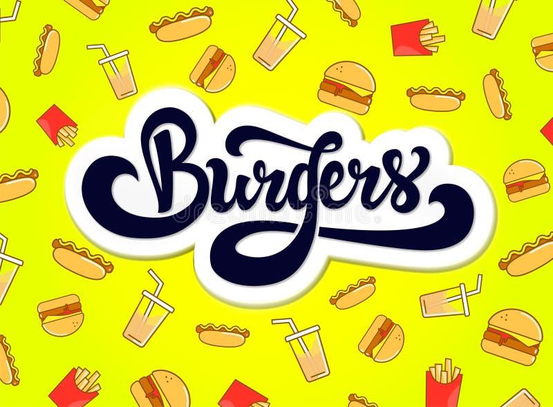 Conception de logo d'hamburgers Logotype tiré par la main illustration libre de droits