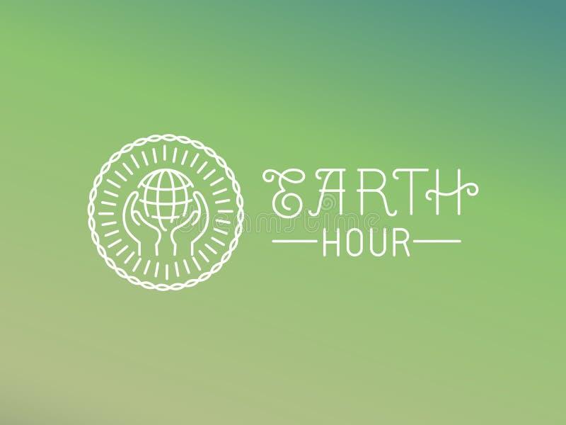 Conception de logo d'heure de la terre de vecteur dans le style linéaire illustration stock