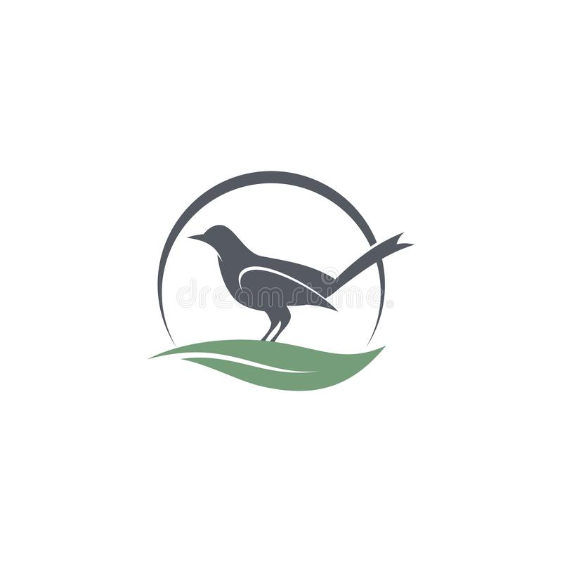 Conception de logo d'icône d'oiseau de silhouette avec la feuille abstraite de demi-circle et de bruissement illustration de vecteur