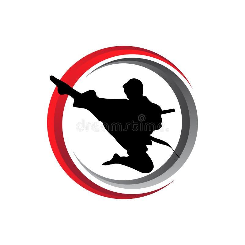 conception de logo d'icône de vecteur de pose de combat d'art martial de karaté illustration libre de droits