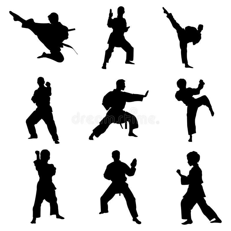 conception de logo d'icône de vecteur de pose de combat d'art martial de karaté illustration stock