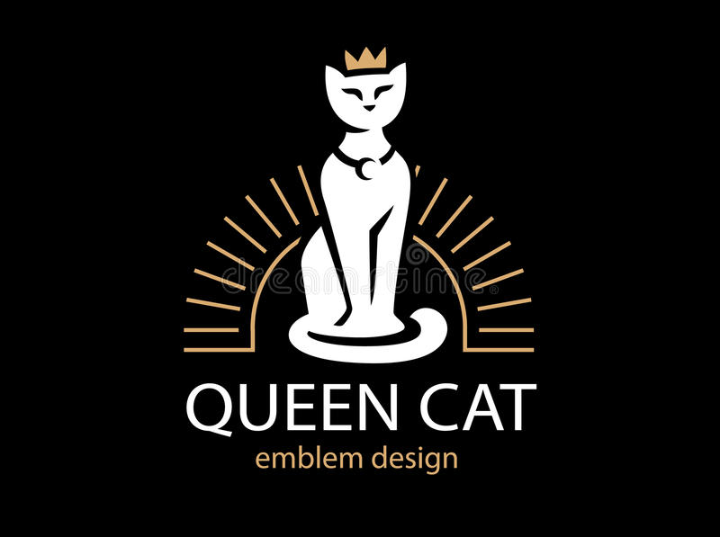 Conception de logo de Cat Queen sur le fond noir illustration libre de droits
