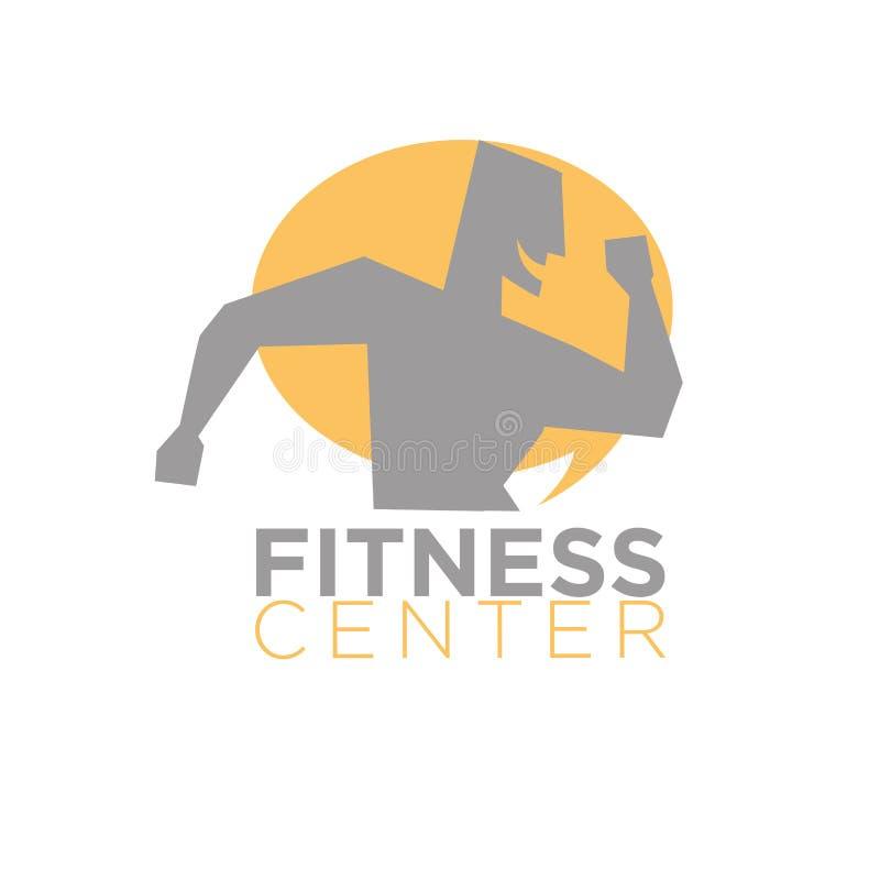 Conception de logo de centre de fitness de silhouette fonctionnant avec la bouche ouverte illustration libre de droits