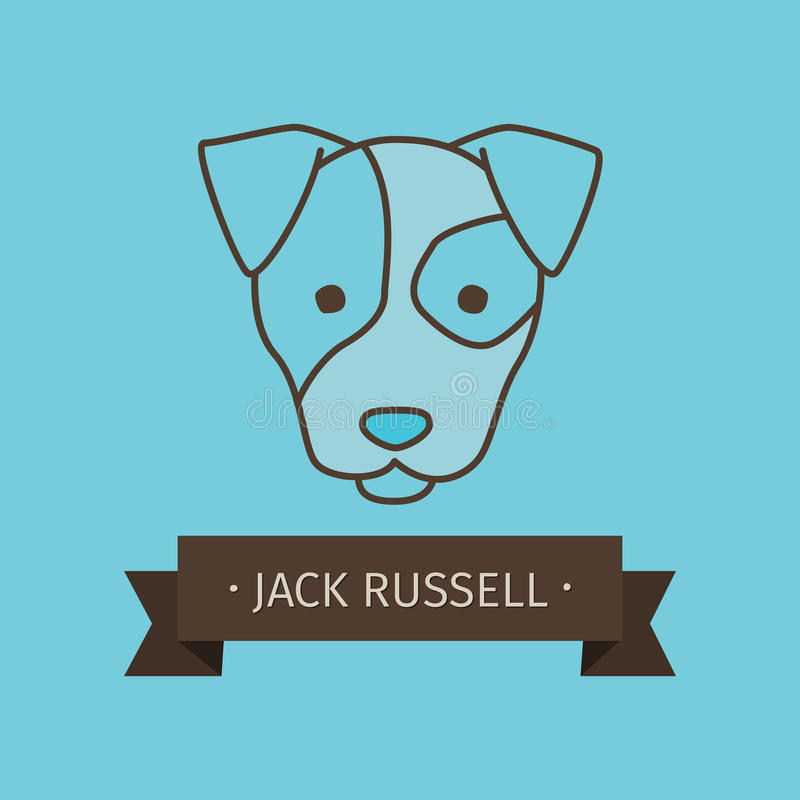 Conception de logo de chien de race de Jack Russel illustration de vecteur