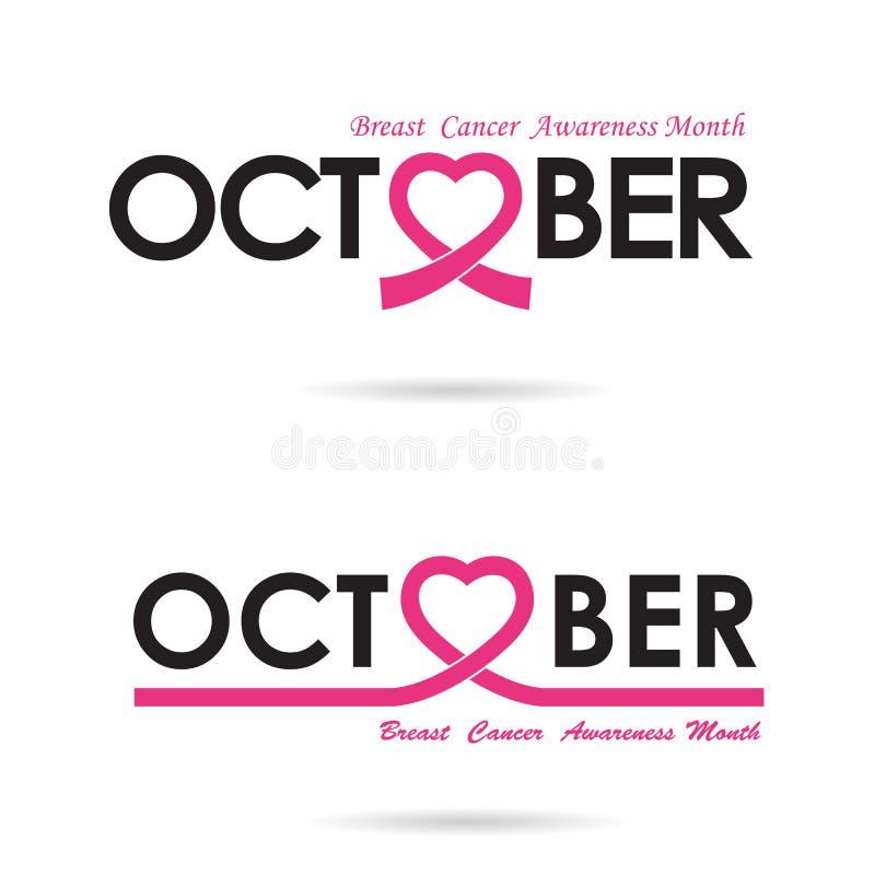 Conception de logo de conscience de cancer du sein Conscience de cancer du sein illustration stock