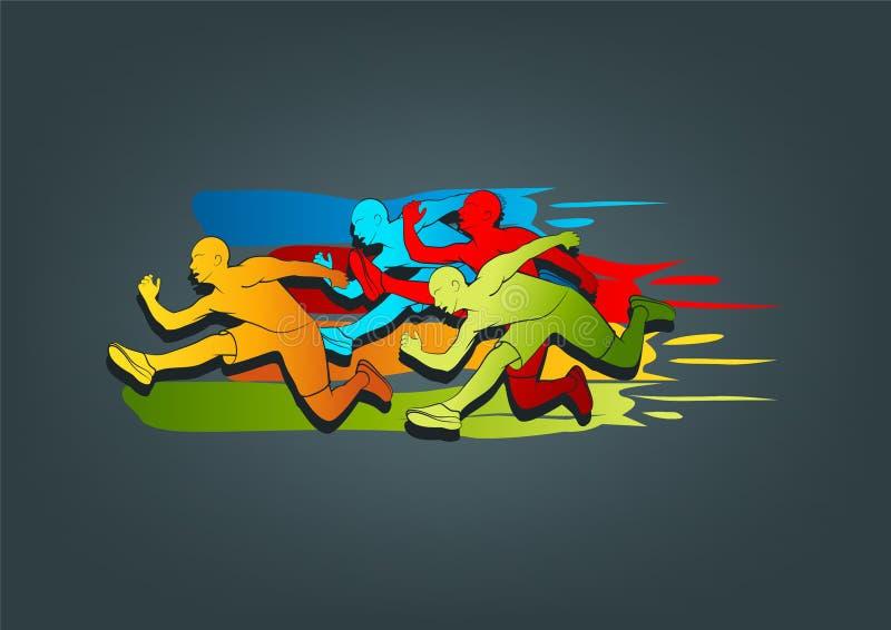 Conception de logo de coureur illustration de vecteur