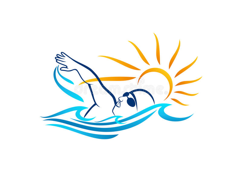 Conception de logo de natation illustration stock
