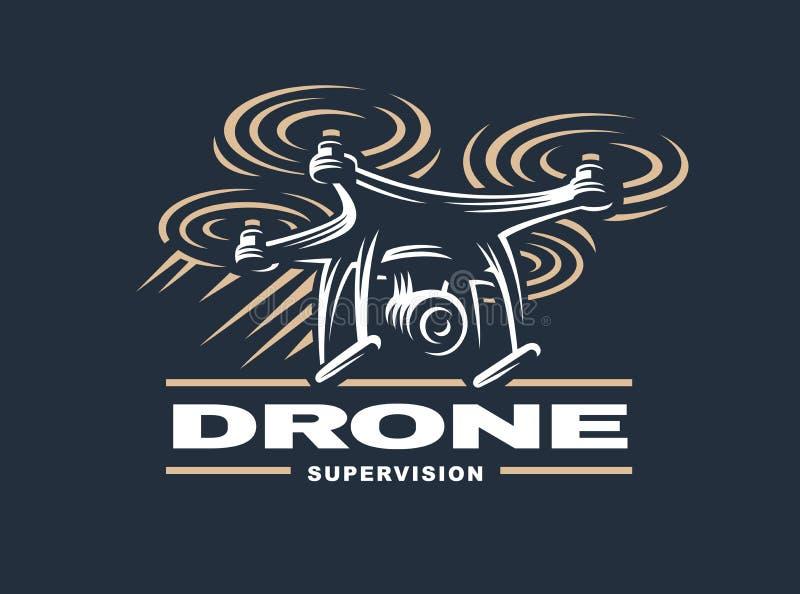 Conception de logo de quadrocopter de bourdon, fond foncé illustration libre de droits