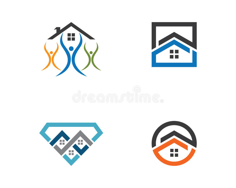 Conception de logo de Real Estate, de propriété et de construction illustration de vecteur