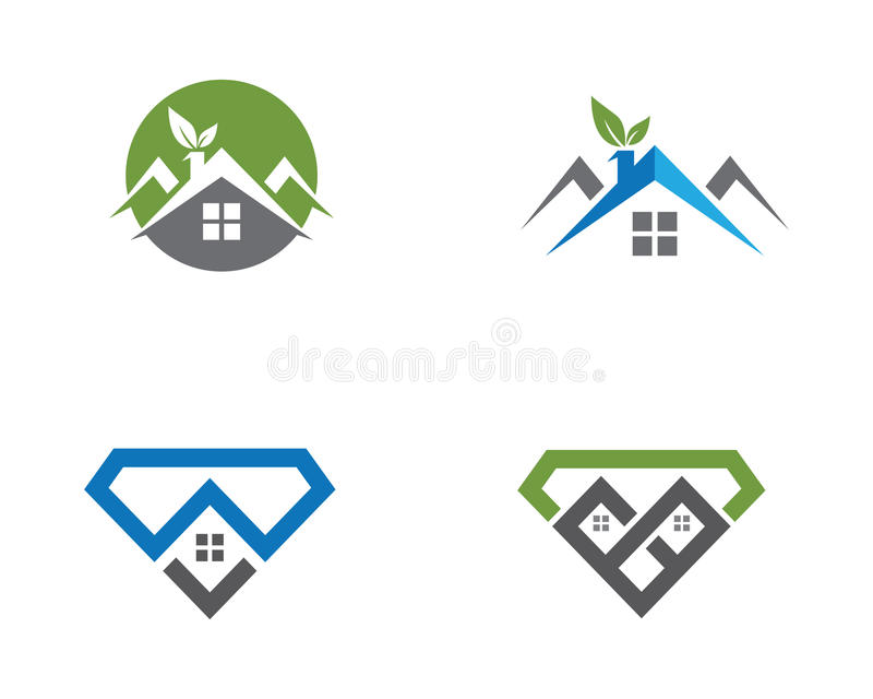 Conception de logo de Real Estate, de propriété et de construction illustration stock
