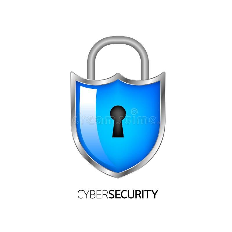 Conception de logo de sécurité de Cyber illustration de vecteur