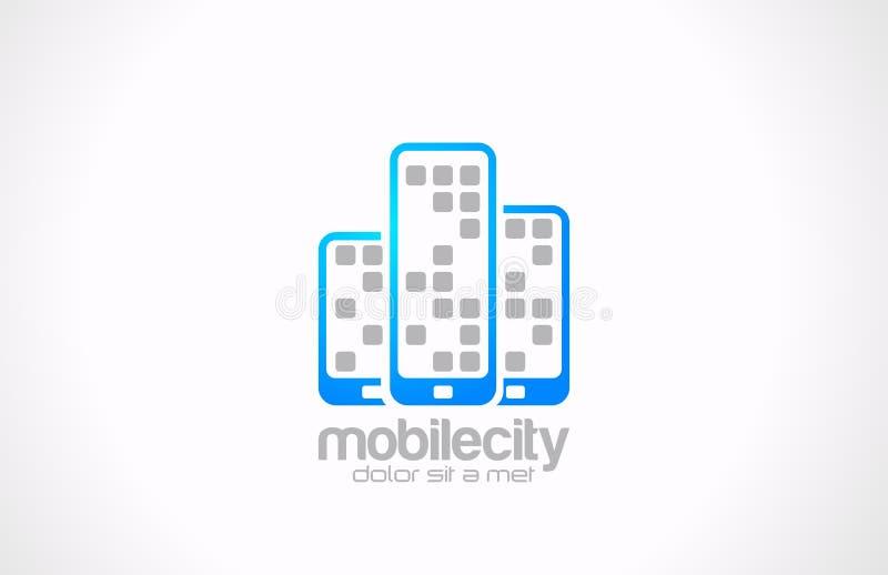 Conception de logo de téléphones portables. Affaires mobiles Co de ville illustration libre de droits
