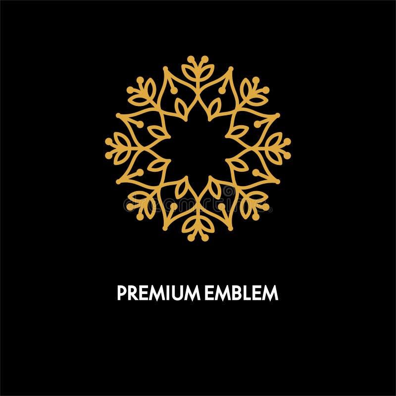 Conception de logo de vecteur conceptuel de calibre et concept ronds de monogramme dans le style linéaire à la mode, insigne flor illustration libre de droits