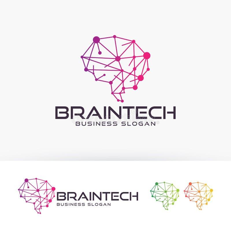 Conception de logo de vecteur de Brain Tech illustration stock